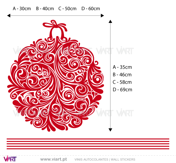 Viart Wall Stickers - Set of 3 floral Christmas balls! Version 2 - measures