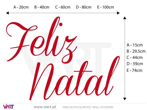 "Viart Wall Stickers - Sentence ""Feliz Natal"" - Version 1 - measures"