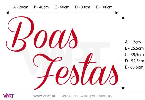 "Viart Wall Stickers - Sentence ""Boas Festas"" - Version 1 - measures"