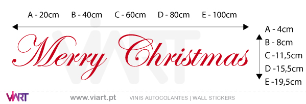 "Viart Wall Stickers - Sentence ""Merry Christmas"" - Version 2 - measures"